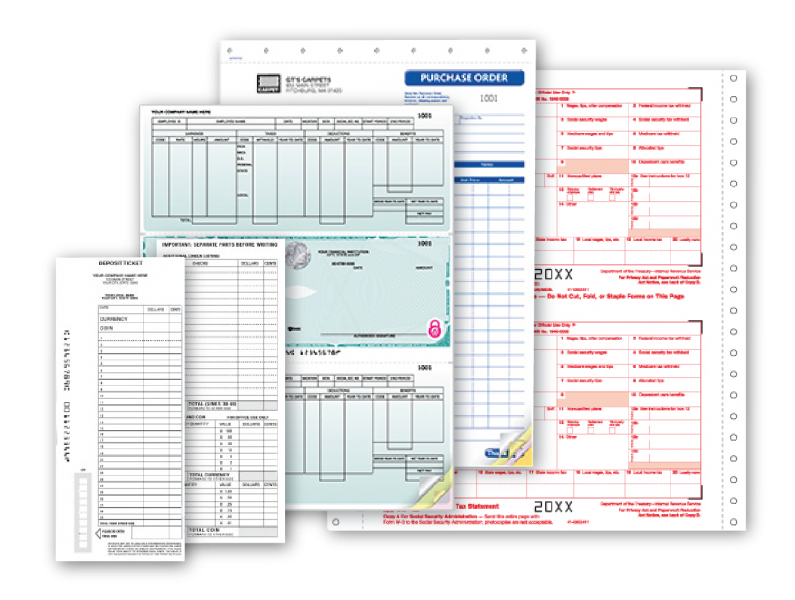 Checks, Tax forms, and deposit slips