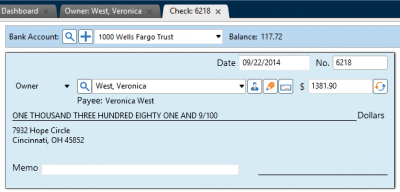 View checks in Rent Manager