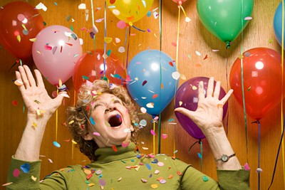 Senior woman at a party