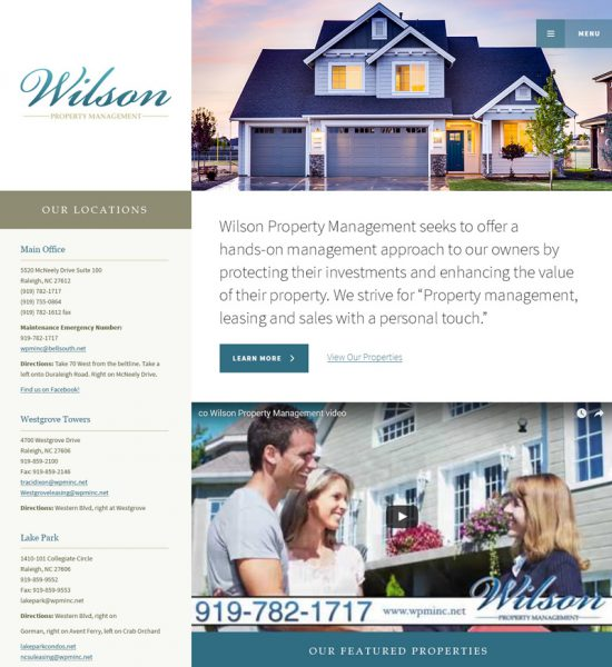 Wilson Property Management Website Example
