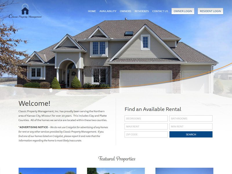 Classic Property Management Website Example