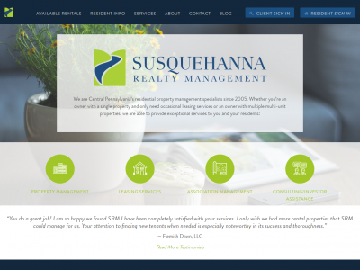 Susquehanna Realty Management Website Example
