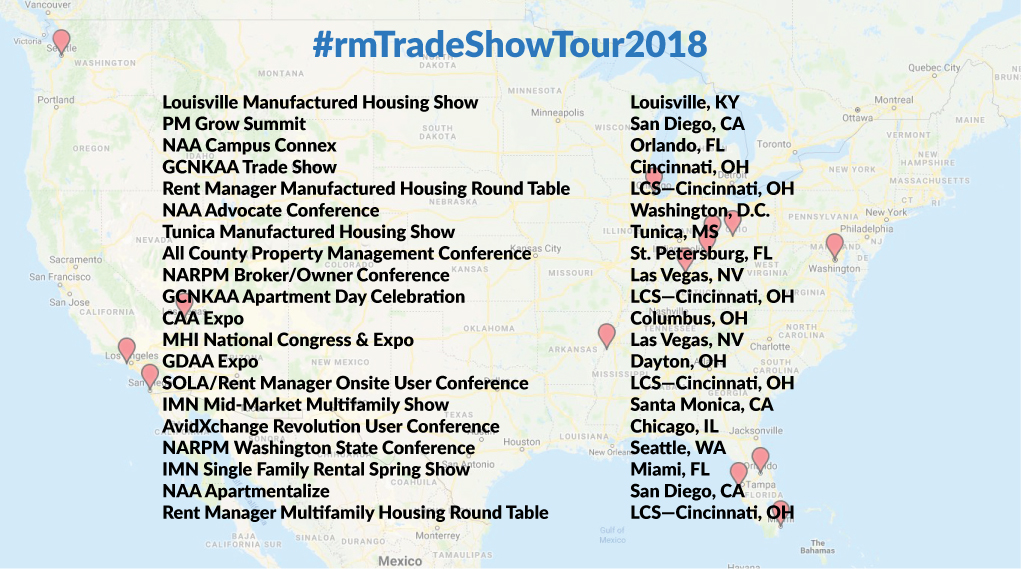 rm Trade Show Tour 2018 Map