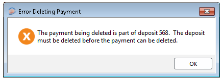 Error Deleting Payment Screenshot