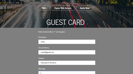 Guest Card Example