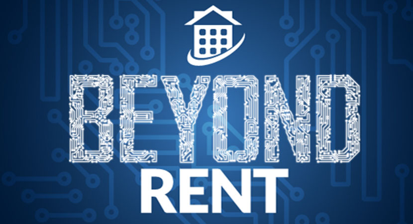 Beyond Rent written in white text over a blue background