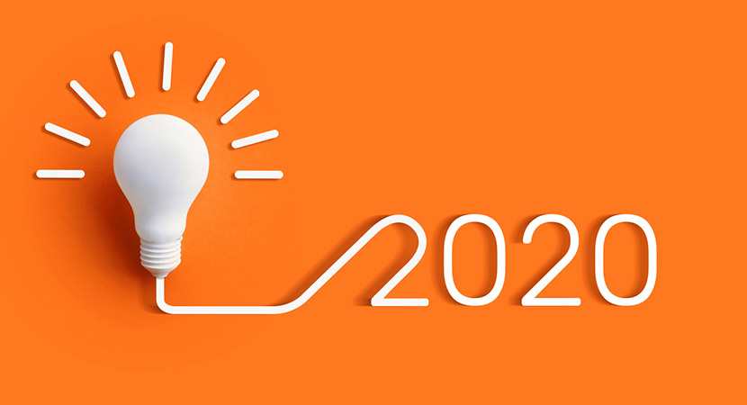 Lightbulb with 2020 written