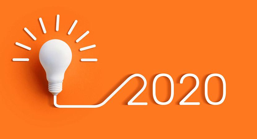 Lightbulb with 2020 written