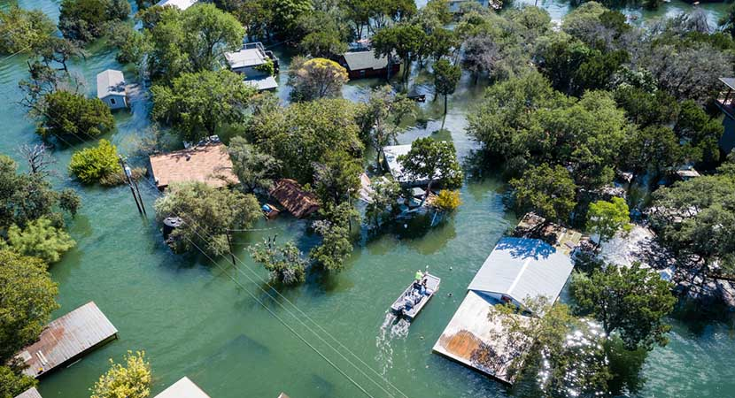 A drone shot of several flooded houses